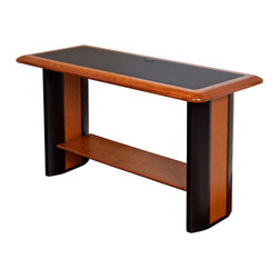 Caretta Workspace - Caretta Side Table - The Caretta Side Table features a solid cherry wood top, with soft, durable inlay, attractive wood accented legs, and functional lower shelf. This table is a great place to sit a lamp, artwork, or other items to display in your home or office. The table is also the perfect size to hold the Caretta Artistic Book Shelf, or Artistic or Modern Hutch.
