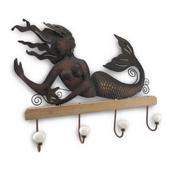 Zeckos - Artisan Crafted Lounging Mermaid Hanging Wall Hook - This artisan crafted mermaid is an aquatic dream come true and perfect for a spa, bath or poolside cabana wall with her curvy tail and flowing hair as she languidly lounges atop a wooden base with attached metal hooks perfect for hanging items such as towels, coats, robes and bathing suits. Each hook has a resin knob to protect and secure items. This mermaid has been beautifully crafted from metal and hand-painted to give it an aged bronze appeal and would certainly stand out on any wall at 14 1/2 inches high, 18 inches long and 2 1/2 inches deep and easily hangs using the two attached hangers on the back. This enchanting mermaid wall hook will add functional nautical allure to your walls and home and would make an amazing gift for any mermaid admirer