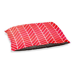 """DiaNoche Designs - Dog Pet Bed Fleece - Herringbone Red - DiaNoche Designs works with artists from around the world to bring unique, designer products to decorate all aspects of your home.  Our artistic Pet Beds will be the talk of every guest to visit your home!  BARK! BARK! BARK!  MEOW...  Meow...  Reallly means, """"Hey everybody!  Look at my cool bed!  Our Pet Beds are topped with a snuggly fuzzy coral fleece and a durable indoor our underside material.  Machine Wash upon arrival for maximum softness.  Made in USA."""