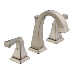 Delta Two Handle Widespread Lavatory Faucet - 3551LF-SS - The clean lines and dramatic geometric forms of the Dryden Bath Collection are based on style cues from the Art Deco period.