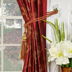 Red Embroidered Animals Pinch Pleat Dupioni Silk Window Coverings - These Halo Collection silk drapes present grandeur and masterful details in pattern design. Tailored from the finest silk, the curtains with elegant embroidered cranes are destined to become a focal point of your home.