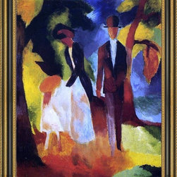 """Art MegaMart - August Macke People by the Lake - 20"""" x 25"""" Framed Premium Canvas Print - 20"""" x 25"""" August Macke People by the Lake framed premium canvas print reproduced to meet museum quality standards. Our Museum quality canvas prints are produced using high-precision print technology for a more accurate reproduction printed on high quality canvas with fade-resistant, archival inks. Our progressive business model allows us to offer works of art to you at the best wholesale pricing, significantly less than art gallery prices, affordable to all. This artwork is hand stretched onto wooden stretcher bars, then mounted into our 3 3/4"""" wide gold finish frame with black panel by one of our expert framers. Our framed canvas print comes with hardware, ready to hang on your wall.  We present a comprehensive collection of exceptional canvas art reproductions by  August Macke ."""
