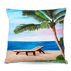 DiaNoche Designs - Pillow Woven Poplin - Strand Chairs on Caribbean - Toss this decorative pillow on any bed, sofa or chair, and add personality to your chic and stylish decor. Lay your head against your new art and relax! Made of woven Poly-Poplin.  Includes a cushy supportive pillow insert, zipped inside. Dye Sublimation printing adheres the ink to the material for long life and durability. Double Sided Print, Machine Washable, Product may vary slightly from image.