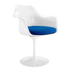 Tulip Armchair in Blue - Ideal for breakfast nooks, small spaces, office tables, and awkward corners in the home that require a compact piece, this elegant and timeless design ups the retro quality of any mod kitchen or vintage-inspired home.