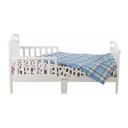 """Dream On Me - Elora Toddler Bed - The Dream On Me Elora toddler bed is an elegant design made of solid wood and has a beautiful non-toxic finish. Designed low to the floor so that your toddler can safely get in and out of bed, it is the perfect transition for toddlers who have outgrown their cribs but are still too small for an adult bed. Features: -Built low to the ground for toddler's comfort.-Safety guard rails.-Wooden mattress support rails.-Distressed: No.-Powder Coated Finish: No.-Gloss Finish: No.-Frame Material: Solid pine wood.-Hardware Material: Metal hinges.-Scratch Resistant: No.-Mattress Included: No.-Fits Crib Mattress: Yes.-Recommended Mattress Height: 4"""".-Mattress Profile Maximum: 4"""".-Mattress Profile Minimum: 2"""".-Box Spring Required: No.-Box Spring Included: No.-Slats Required: Yes.-Number of Slats Required: 6.-Slat System Included: Yes.-Number of Slats Included: 6.-Center Support Legs: No.-Recommended Age Range: 18 months - 7 years.-Also Suitable for Adults: No.-Weight Capacity: 45 lbs.-Eco-Friendly: Yes.Specifications: -CPSIA or CPSC Compliant: Yes.-CARB Compliant: Yes.-JPMA Certified: No.-ASTM Certified: Yes.-ISTA 3A Certified: Yes.-General Conformity Certificate: Yes.-Green Guard Certified : No.Dimensions: -Overall Height - Top to Bottom: 28"""".-Overall Width - Side to Side: 29"""".-Overall Depth - Front to Back: 53.5"""".-Headboard Height Top to Bottom: 27"""".-Headboard Width Side to Side: 28"""".-Footboard Height: 23"""".-Footboard Width - Side to Side: 28"""".-Overall Product Weight: 37.5 lbs.Assembly: -Easy assembly."""