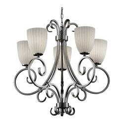 Justice Design Group LLC - Justice Design Group FSN-8570 - Victoria 5 Light Uplight Chandelier - Tapered Cy - Shop for Chandeliers from Hayneedle.com! About Justice DesignEndless inimitable lighting that's what Justice Design deals in. More than 200 different shapes. More than 35 different finishes. That's a huge amount of customization -- right at your fingertips. Speaking of fingertips each fixture is painstakingly crafted by skilled artisans by hand. Whether you're looking for indoor or outdoor lighting residential or commercial Justice Design is sure to have just the right fixture to match your needs and personality.
