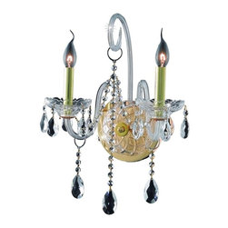Elegant - Verona Gold Spectra Swarovski Wall Sconce Chandelier - Inspired by the elegant English chandeliers of the Eighteenth century, the allure of our Verona Collection captures the look of pure luxury. Cut-crystal center columns and bobeches accent the drape.