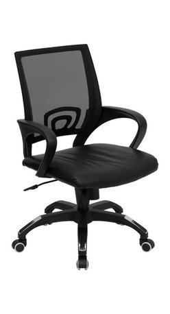 Flash Furniture - Mid-Back Black Mesh Computer Chair with Black Leather Seat - For a contemporary and stylish mesh computer chair for your home or office there's no need to look any further. This ergonomic task chair with mesh back from Flash Furniture will provide a comfortable and functional addition to any setting. Featuring a cool mesh back, leather seat, and a designer base, this computer chair will provide all the necessities for a home or office desk chair with a few extra features.