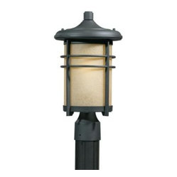 Illumine Outdoor Lighting. 1-Light Outdoor Blacksmith Bronze Post Head with Fros