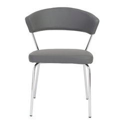 Eurostyle - Draco Side Chair (Set Of 4)-Gry/Chrm - Leatherette over foam seat and back