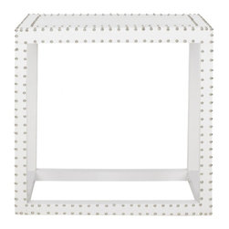 Safavieh - Lena End Table - White Croc - We've nailed it. The Lena End Table brings three dimensions of contemporary charm to any living space. Its sleek, clean lines covered with crocodile patterned faux leather of sturdy polyurethane are adorned with iron nailhead detail, and its soothing white palette make it a must-have for maintaining a fresh, open ambience.