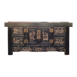 Golden Lotus - Chinese FuJian Style Relief Carving Low TV Stand Table - This is a Fujian style low console table or TV stand with relief carving of Chinese lucky treasure graphic in light brown color.