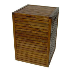 Aqua Teak - Teak Hamper with Removable Lining (13.6 x 13.6 x 20.5) - Choose Size: 13.6 x 13.6 x 20.5Use indoors or outdoors. Includes a removable draw string fabric bag. Sleek, modern and elegant hamper. Some assembly required. 13.6 in. L x 13.6 in. W x 20.5 in. H (17.6 lbs.)All material is sustainably harvested teak from certified EcoSafe plantations. Teak wood has a life expectancy of 75 years if left untreated due to its natural rubber content that naturally resists moisture. No other wood compares to Teak when it comes to durability, elegance, stability and low maintenance. Provides both functional and aesthetic features to your decor