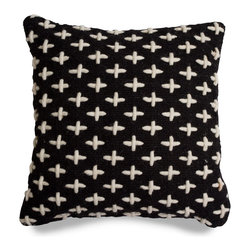 Blu Dot - Blu Dot Mima Pillow, Black - Hand-woven from 100% wool, and embellished with a pattern of thick cross-stitching. Available in black, green, red and yellow.