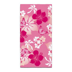 """Eco Friendly Hawaiian """"Aloha Pink"""" Hibiscus Bath Towel - Our Bath/Beach Towels are made of a super soft poly fiber fabric with 2mm pile."""