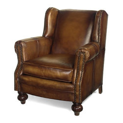 EuroLux Home - New Accent Chair Library Wood Leather - Product Details