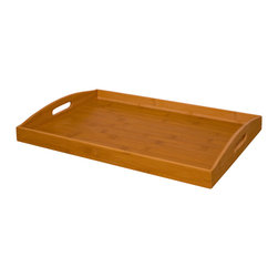 """Enchante Accessories Inc - Bamboo Serving Tray 18.70"""" x 12.79"""" x 2.16"""" (Natural) - Bamboo wood serving trayCan be used as a food serving tray or to hold household itemsSolid wood interior with painted edgesCut out handles for easy carrying from room to roomMeasures 18.70"""" x 12.79"""" x 2.16""""With a variety of purposes and a versatile design that can be used in different rooms around the home, this chic bamboo serving tray is the perfect accent to any room. The Bamboo Serving Tray by Sheffield Home is made from natural bamboo wood and has a simplistic, modern design with a rectangular shape, a flat recessed surface, and slightly curved sides with cut out handles for easy carrying. The interior of the tray features a natural bamboo finish while the exterior painted edges add a pop of color to coordinate with your other favorite room d""""cor, table top accessories, or home accents. This tray is available in a range of colors including green, red, and natural bamboo wood for the decorator who prefers a seamless, all-natural look.This tray can be used in a variety of different ways. Place it on top of a coffee table or use it as a flat surface on a living room ottoman to hold drinks and snacks or contain household items such as remote controls, coasters, magazines, mail, or tissue boxes. It helps to keep items organized and minimizes clutter that can collect around the room. In addition to using it as a catchall for small items, this tray can also be used as a traditional serving tray and offers an easy way to carry snacks and beverages into the living room or family room or take a sandwich and snacks to a student studying in their bedroom or a significant other hard at work in the home office. After a sit-down meal in the dining room, this tray can be used to carry dessert plates, coffee cups, or a tea set to the dining table to complete the meal. It has a variety of smart, versatile uses and has a chic, elegant look that can be used in any room of the home."""