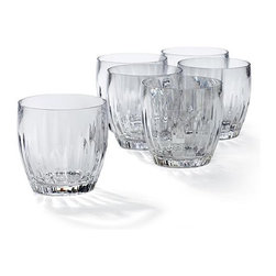 Frontgate - Set of Six Acrylic Cut Crystal Double Old-fashioned Glasses - Drink glasses sold in sets of 6. Crafted from shatter-resistant acrylic. Resists clouding, scratching, and splitting for years. Top-shelf dishwasher safe. With our durable-yet-elegant Portofino Acrylic Drinkware, you can enjoy the look of beautifully cut crystal without the fragility. It's an excellent choice for poolside dining and snacking, as well as more formal outdoor events. . . . .