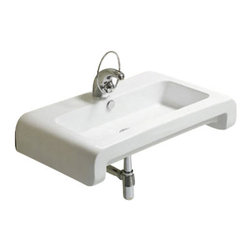 Whitehaus Collection - Whitehaus WHKN1130 Ceramic Rectangular Wall Mount Bathroom Sink Basin - Whitehaus Collection bathroom sinks are modern sleek and stylish. A great option for anyone that wants a unique and eye catching bathroom design!