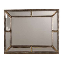 Uttermost Lucinda Antique Silver Mirror - Heavily antiqued champagne with silver and gold undertones and a dark gray glaze. This framed mirror consist of 9 beveled mirrors placed together to create an eye catching addition to any room. The frame finish is antique silver leaf with heavy beige wash.