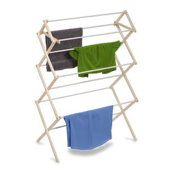 "Large Wood Knockdown Drying Rack- 29 Linear Feet - Honey-Can-Do DRY-01174 Large Wooden Clothes Drying Rack, White/Natural. The accordion-style body has coated rods to prevent snagging and slipping with a top shelf that's great for air-drying sweaters. With 29 feet of linear drying space, this no-frills drying rack offers a tremendous value in natural clothes drying. Unlike a wall-mounted unit, this portable rack can be used anywhere including the laundry room, balcony, porch, bathroom, or kitchen and folds down to 2"" flat for easy storage. Save on energy costs while protecting the environment and increasing the life of your garments."