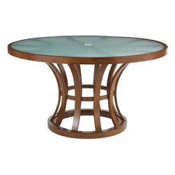 Lexington - Tommy Bahama Ocean Club Pacifica Round Dining Table - The etched glass top appears as soft waves on the sea and may be used with the texture side up or face down to give the illusion while maintaining a flat surface area. The two sized center grommet allows the umbrella to insert with ease.