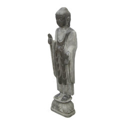 Golden Lotus - Chinese Antique Stone Standing Carving Buddha - This is a Chinese antique standing Buddha which is made of stone.  Especially, its body comes with very detail carving on it.  It should be a gorgeous garden statue.