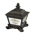 Sterling - Sterling 87-8003 Bronze Box With Damask Printed Mirror - Sterling 87-8003 Bronze Box With Damask Printed Mirror