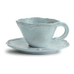Marletto Aqua Scalloped Cup & Saucer - With a winsome, sweetly traditional shape and a bold pattern of heirloom lace designs, the Merletto Aqua Scalloped Cup and Saucer takes feminine floral dishware to stylish new heights with clear evidence of mastery in ceramics.  Handmade in Italy, this charming teatime pairing presents small, dainty floral motifs along with the bolder designer edging.