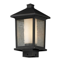 Z-Lite - Z-Lite 538PHM-ORB Mesa 1 Light Post Lights & Accessories in Oil Rubbed Bronze - Unique double glass styling and rectangular detailing define the modern styling of this medium outdoor post head. Seedy glass on the outside with matte opal inner glass creates an elegant glow, while the cast aluminum hardware finished in oil rubbed bronze can withstand nature�s seasonal elements.