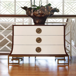 Global Views - Sabre Chest - The Saber Chest is influenced by Regency and Art Deco design.  The sides are rich American walnut. The three wide 5�� high drawers have an ivory colored lacquer face and walnut satin interior.  Each drawer has a beautiful solid brass drop ring pull.  The classic inspired key shaped leg and apron are made of metal finished to match the pulls.  The size and proportion of this cabinet make it perfect for a side table by a bed or as an entry hall piece.