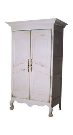 British Traditions - Large French Armoire w Clothing Rod (French Gray) - Finish: French Gray. Each finish is hand painted and actual finish color may differ from those show for this product. Large French armoire. Stylized French feet. Comes with a clothing rod installed. Minimal assembly required. Interior size: 35 in. W x 21 in. D x 56 in. H to front frame. 62 in. H Behind front frame. 45.5 in. W x 24 in. D x 76 in. H (186 lbs.)Our most popular French piece, this armoire is distinguished by many details - long brass hinges, distinctive crown and shaped panel mouldings, carved legs and a charming scalloped skirt. Lovely for commercial clothing display or for home storage where closet space is limited, the French Armoire comes with a standard clothes bar.