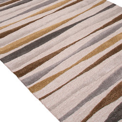 Jaipur Rugs - Hand-Tufted Soft Hand Wool/Art Silk Ivory/Brown Area Rug (8 x 11) - In rich jewel or sorbet tones, accented with hints of viscose, abstract patterns create a palette of design and color to build a room around.