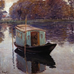 Wallmonkeys Wall Decals - Fine Art Murals Monet's Studio Boat by Claude Monet  - 60 Inches W x 46 Inches H - Easy to apply - simply peel and stick!