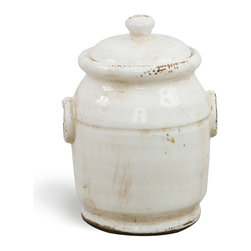 """Antique White Olive Jar 9"""" Tall - Our lovely miniature olive jars provide the perfect container for olives, nuts or any other food for which you desire attractive storage. Made of terracotta, this olive jar shines with an antique white glaze. The antique look of this olive jar means it will look right at home in your country kitchen but the neutral color ensures it can lend appeal to a kitchen of any décor."""