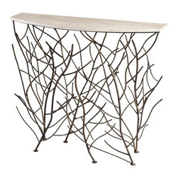 Cyan Design - Cyan Design Woodland Contemporary Console Table X-14260 - The contemporary woodland inspired look of the base quickly draws your eye to this contemporary Cyan Design console table. This contemporary table pairs its stunning branch detailing with a vibrant Bronze finish. It is constructed of iron and topped with glass, completing the look.