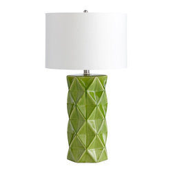 Cyan Design - Cyan Design Contemporary / Modern Hoshi Table Lamp X-83050 - Geometric patterning is accentuated by a bold Green Apple finish on this Cyan Design contemporary table lamp. From the Hoshi Collection, this modern design features triangular accents that compliment the contrasting look of the crisp white drum shade.