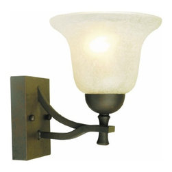 DHI-Corp - Ironwood 1-Light Wall Sconce, Statuary Bronze - The Design House 509281 Ironwood 1-Light Wall Sconce is made of formed steel, snow glass and finished in statuary bronze. This sconce's petite design mounts seamlessly to the wall without a chain or visible wires. This 1-light wall mount is rated for 120-volts and uses (1) 60-watt medium base incandescent bulb. Measuring 8.5-inches (H) by 6.75-inches (W), this 2.42-pound fixture can be mounted facing up or down depending on location and preference. Bold arms and clean details add a modern accent in a bathroom, hallway or entry way. This product is UL and cUL listed and approved for damp areas. The Ironwood collection features a beautiful matching pendant, chandelier, ceiling mount and vanity light. The Design 509281 Ironwood 1-Light Wall Sconce comes with a 10-year limited warranty that protects against defects in materials and workmanship. Design House offers products in multiple home decor Categories including lighting, ceiling fans, hardware and plumbing products. With years of hands-on experience, Design House understands every aspect of the home decor industry, and devotes itself to providing quality products across the home decor spectrum. Providing value to their customers, Design House uses industry leading merchandising solutions and innovative programs. Design House is committed to providing high quality products for your home improvement projects.