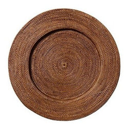 """Tava Charger, Round, Honey stain - Crafted of naturally sturdy and beautiful rattan, our Round Tava Charger is the perfect backdrop for white or colorful dinnerware. 14"""" diameter Hand woven of natural rattan. See this item featured in {{link path='pages/popups/asi_944_211.html' class='popup' width='720' height='800'}}944{{/link}}."""