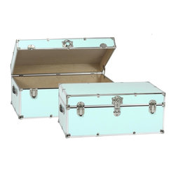 Artisans Domestic - Storage Trunk in Light Blue - Vintage style. Handcrafted. Lined with cabinet grade birch. Removable storage tray. Wheels and leather strap handles for moving easily. Steel latches and a lock with two keys. Heavy gauge steel trim and corner pieces. Made in USA. 32 in. W x 18 in. D x 14 in. H (39 lbs.)The Artisans Domestic Heirloom Steamer Trunk can be used for toys, games, clothes, keepsakes, a memory box or even as a coffee table. Add your own college logos or decals or just let the modern retro design speak for itself.
