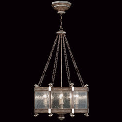 Fine Art Lamps - Villa Vista Eight-Light Pendant in Hand Painted Driftwood Finish On Metal with S - Pendant in hand painted driftwood finish on metal with silver leafed accents and hand-blown seedy glass panels.  - Chain length (ft): 6  - Min Max Height in inches: 54 - 120  - Made in USA  - Fine Art Lamps is world-renowned for original, elegant lighting designs favored by discerning designers, architects, consumers, and luxury homebuilders. Exquisite finishes are the company's hallmark, and many finishes take countless steps to achieve the desired effect. Each finish is handcrafted making it a one-of-a-kind work of art. Fine Art Lamps - 807440ST