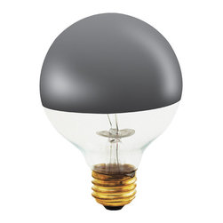 Bulbrite - 100-Watt Half Chrome Decorative G25 Light Bul - One pack of 6 Bulbs. Perfect for open fixtures, pendants, restaurant and retail lighting. The chrome mirrored top reflects light back up towards the fixture, creating a soft, ambient effect. Fully frosted chrome dipped bulbs also available. Lamp Type: Incandescent. Color: Clear. Color Temperature: 2700. Dimmable. Wattage: 100. Voltage: 120. AMPs: 0.83. Base: E26. Avg Hours: 1500. Lumens: 825. Equivalency: 100 Watts. Color Rendering Index (CRI): 100. Beam Spread: 180 degrees. Shape: G25. Maximum Overall Length (MOL): 6. 10 in. L x 7 in. W x 4.5 in. H (1.14 lbs.)Bulbrite's decorative half chrome mirrored light bulbs are the perfect modern touch to any open fixture or to push light back up allowing you to really highlight a decorative pendant.