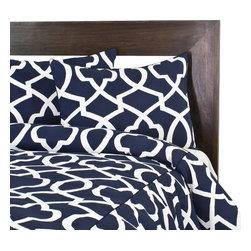 """Sands - Chooty - Morrow Blue Corded Standard Cut King Duvet and 2 Corded Shams - Dramatic and bold, this Duvet Set features a trendy geometric pattern in creamy ivory on a large navy background that will add eclectic appeal to your bedroom. The coordinating pillow shams (2) make it a perfect set for any modern decor. (King Size - 100""""W x 94""""L)"""