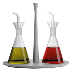 "Alessi - Alessi ""Colombina Collection"" Oil and Vinegar Set - This oil and vinegar set sits on top a base made of melamine."