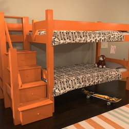 Eco Friendly Bunk Bed with Stairs - Maine Bunk Beds, The Winslow - Twin Bunk Bed with Stairs and Drawers: This twin over twin combines a sturdy stair with drawers for storage.   One of our most popular models, the Winslow (named after renowned artist Winslow Homer) features a stair assembly that provides easy access to the top bunk. Four drawers inside each step provide plenty of storage and shelf space.