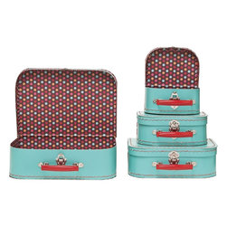 Large Pool Multi Dots Suitcase - I love the vintage suitcase look, I love turquoise and red, and I love being able to order them up without leaving my laptop! These are great fro storing items with flair.
