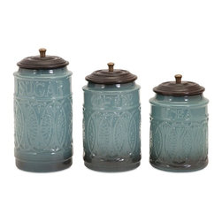 "Imax - Taylor Coffee Sugar Tea Gray Blue Ceramic Canisters - Set of 3 - *Dimensions: 6.5-7.5-8.5""h x 4""d"