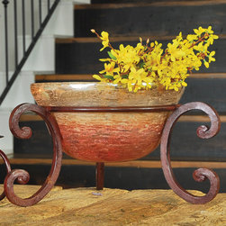 Prairie Bowls - With a pleasing combination of rustic and refined design, our artistic hand-forged metal stand with ceramic bowl will provide the perfect decorative centerpiece, display, or serving piece for your Southwest or Mission-style décor. Choose from large or small sizes.