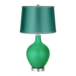"""Color Plus - Contemporary Aqua Marine Metallic - Satin Sea Green Shade Ovo Lamp - Add energy to your decor with this Color + Plus™ table lamp. The design is hand-crafted by artisans in our California workshop and is custom made to order. It features a Aqua Marine Metallic designer color with small metal flakes. This high-quality look sparkles luxuriously - like a new car in the sunlight! The lamp is finished with a stylish sea green satin drum shade and brushed steel finish accents. Designer glass table lamp. Exclusive Aqua Marine Metallic finish. Sea green satin drum shade. Brushed steel finish accents. Maximum 150 watt or equivalent bulb (not included).  28 1/2"""" high.  Shade is 14"""" across the top 16"""" across the bottom 11"""" high. Base is 6"""" wide.  Designer glass table lamp.  Exclusive Aqua Marine Metallic finish.  Sea green satin drum shade.  Brushed steel finish accents.  Maximum 150 watt or equivalent bulb (not included).  28 1/2"""" high.   Shade is 14"""" across the top 16"""" across the bottom 11"""" high.  Base is 6"""" wide."""