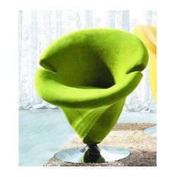 International Design - Tulip Leisure Green Chair - Chair has a great retro-inspired design and a shape that enables total relaxation . Furniture features a microfiber body complemented by a chromed steel frame base. No Assembly Required. 27.5 in. L x 26.3 in. W x 32.6 in. H (36 lbs)